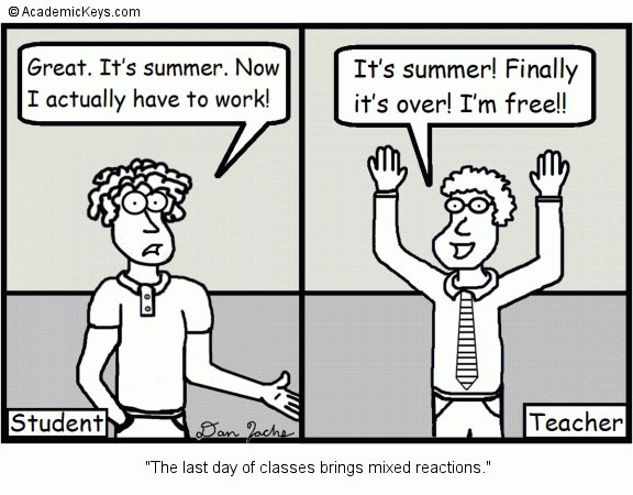 Cartoon #20, The last day of classes brings mixed reactions.